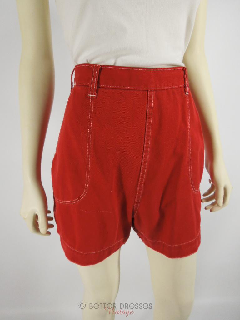 40s/50s Red Denim High-Waist Shorts