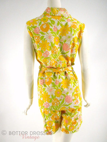 70s Floral Shorts and Top Floral Set - back