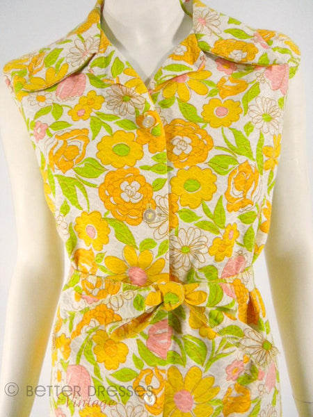 70s Floral Shorts and Top Floral Set - close