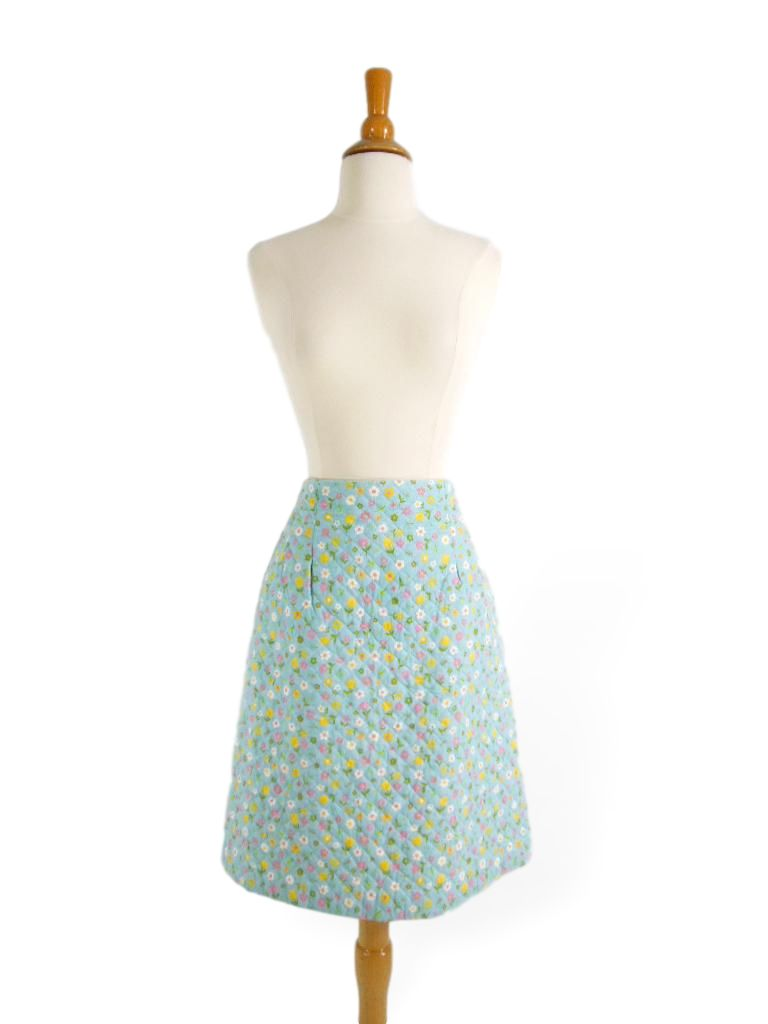 Vintage 60s Skirt A Line in Aqua Blue Quilted Floral