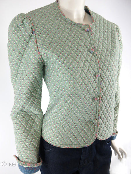 Vera Bradley Indiana Mist Green Quilted Jacket - angle