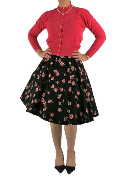 50s Flannel Circle Skirt - With Crinoline Front View