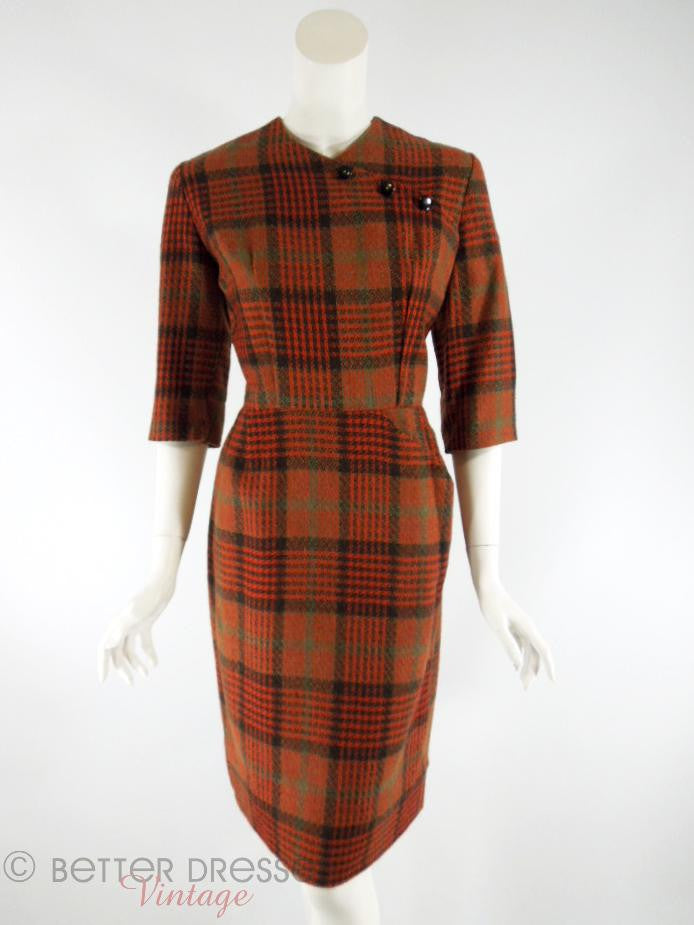 50s Plaid Wool Dress - front view