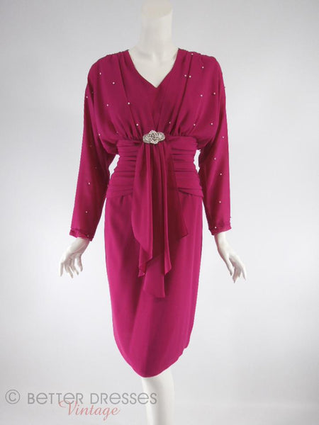 80s Raspberry Crepe Cocktail Dress - full view
