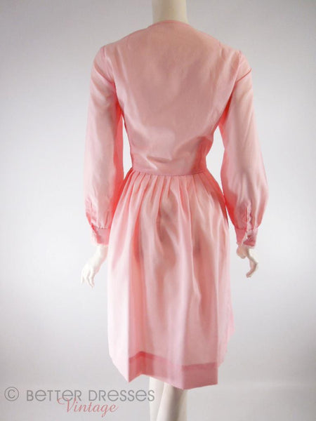 60s Pink Shirtwaist Dress - med