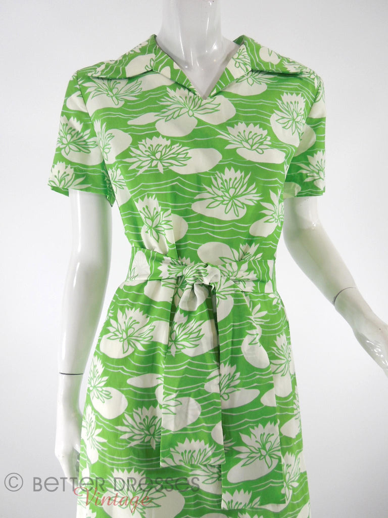 60s/70s Green&White Lily Pad Shift Dress - close