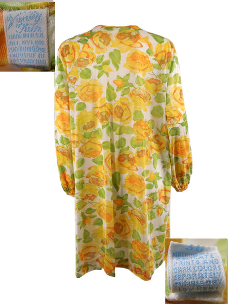 70s Vanity Fair Yellow Roses Robe - back and Vanity Fair Label