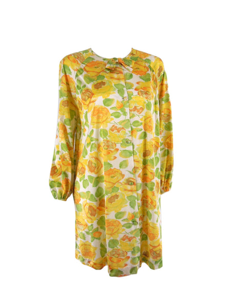70s Vanity Fair Yellow Roses Robe - front