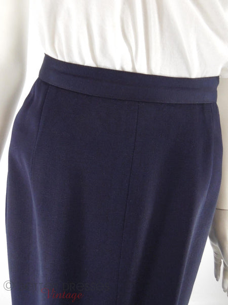 40s Navy Straight Skirt - front seams