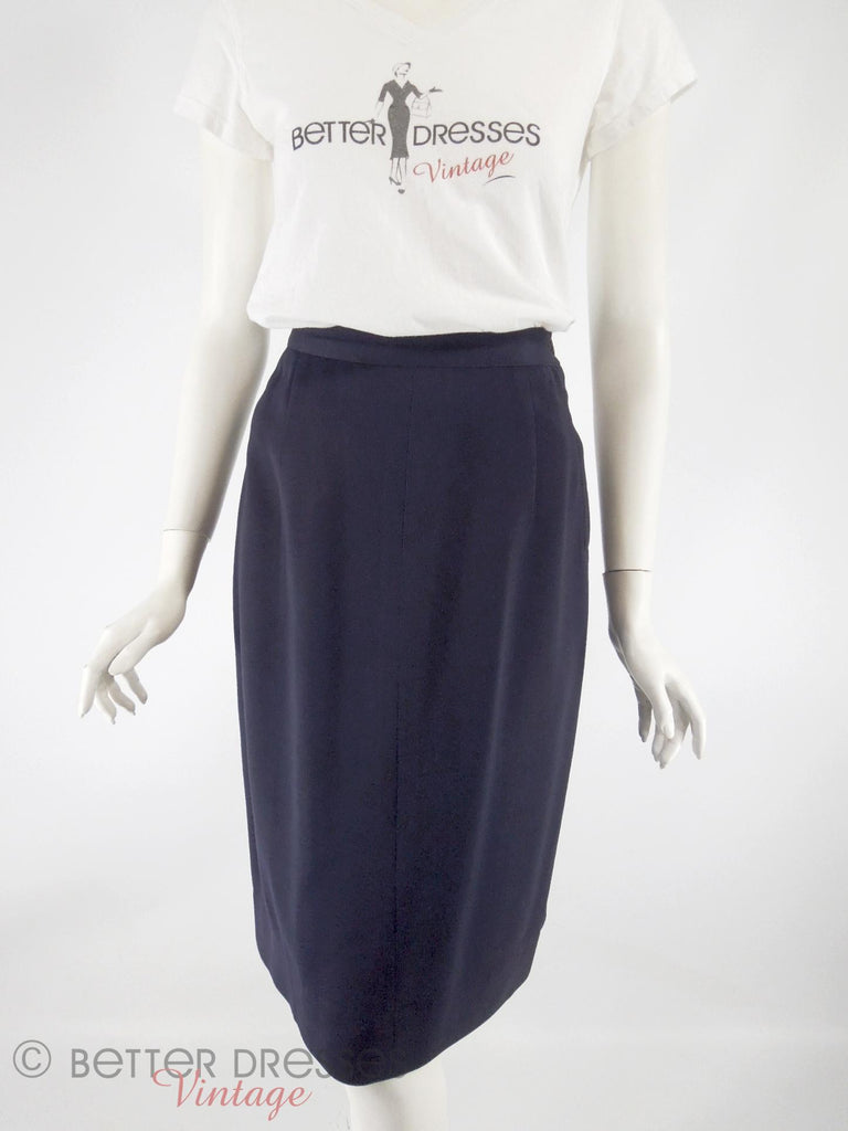 40s Navy Straight Skirt - full view