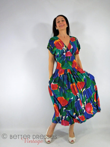 80s Bright Cross-Front Dress - view 2