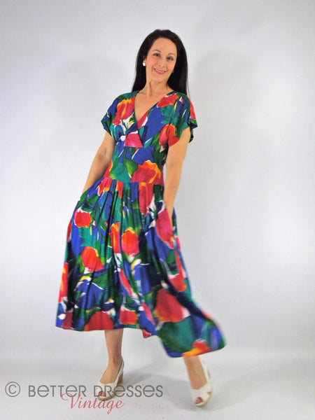80s Bright Cross-Front Dress - view 1