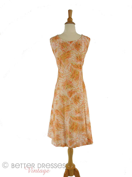 60s/70s Wheat Print Shift Dress