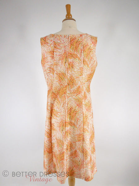 60s/70s A-Line Wheat Print Shift - lg
