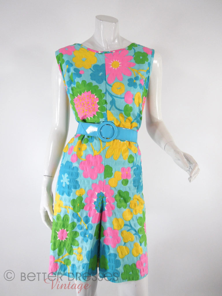 60s Floral Romper - blue belt