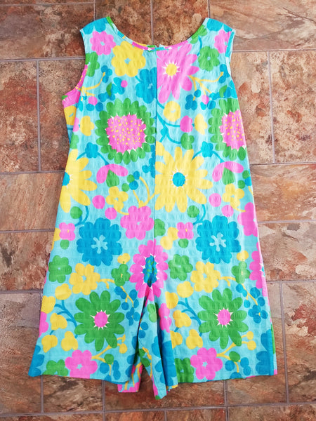 60s Flower Power Romper - lying flat