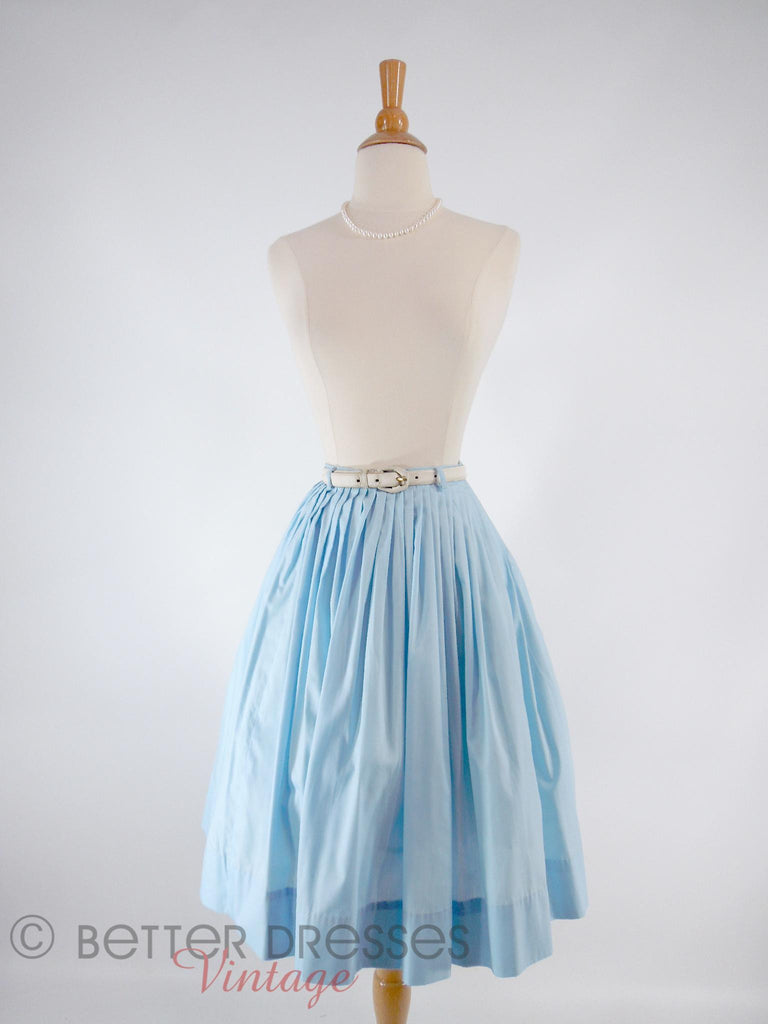 50s/60s Light Blue Full Skirt - shown with belt