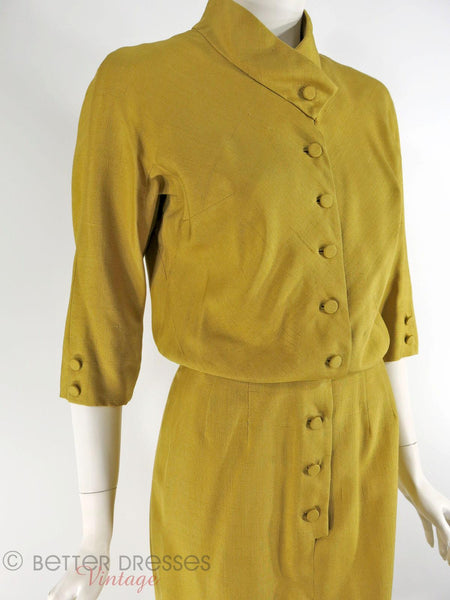 1950s Slim Dress in Golden Olive Silk - close