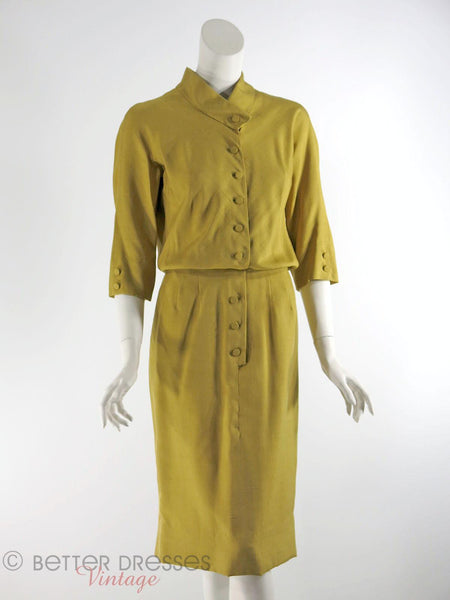 1950s Slim Dress in Golden Olive Silk - front