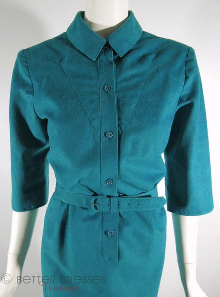 70s/80s Teal Ultrasuede Shirtwaist Dress - med