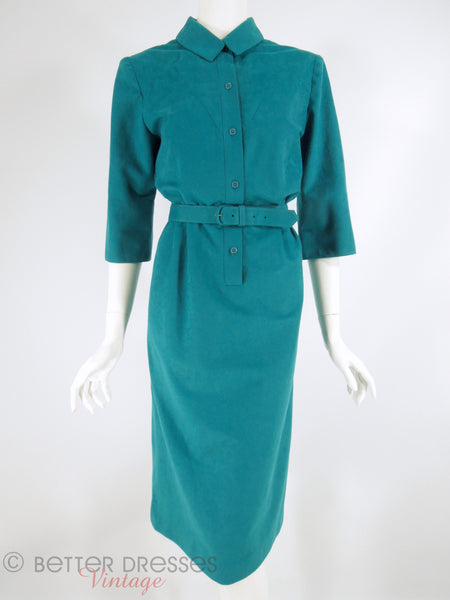 70s Willi of California Teal Ultrasuede Shirtwaist Dress at Better Dresses Vintage