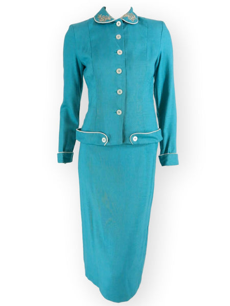 50s Skirt Suit in Turquoise - full view