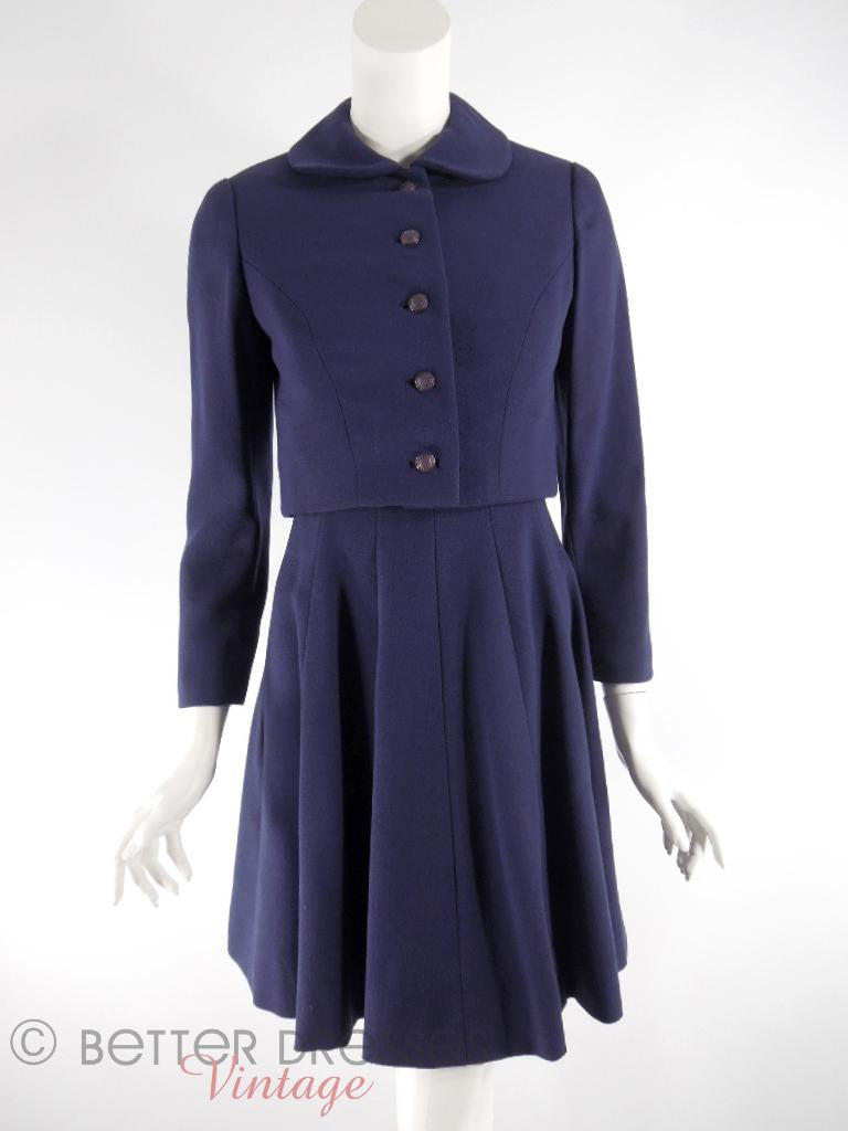 60s Adele Simpson Navy Dress + Jacket - full view front