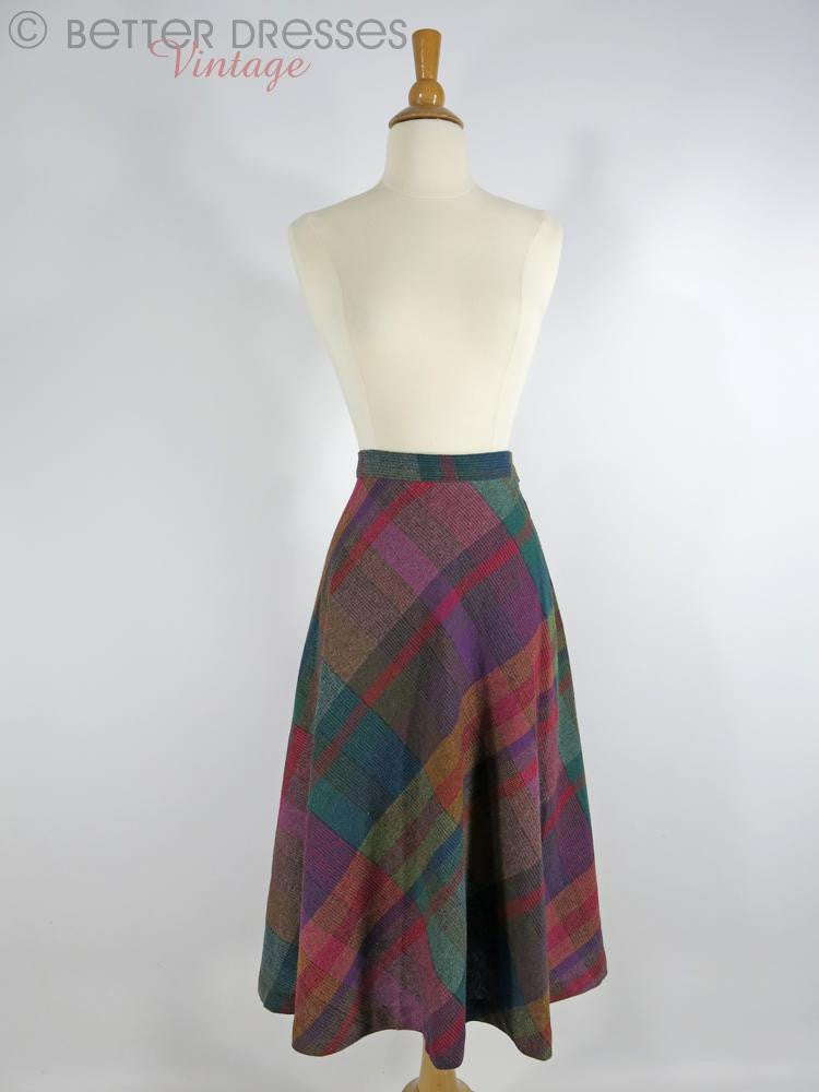 1970s Wool Blend Plaid Skirt - Full view