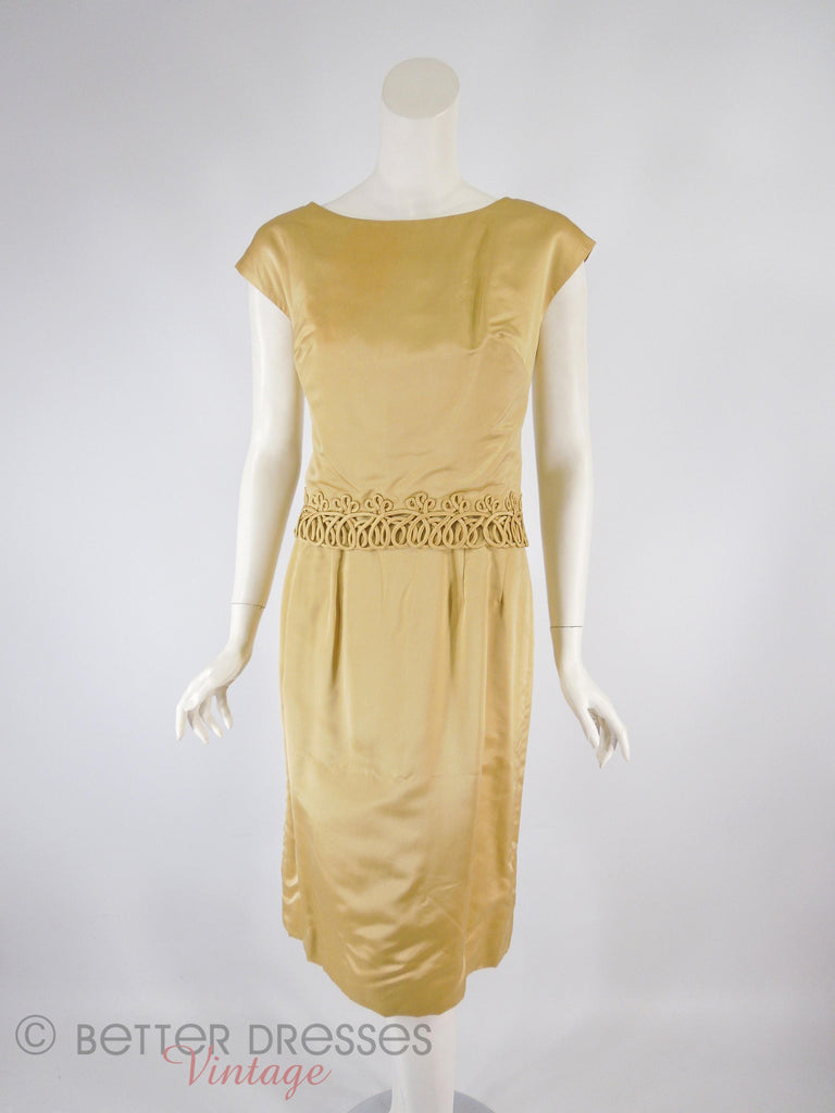 60s Gold Dress + Overlay - front