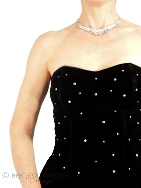 80s Black Velvet Strapless Dress -  close up