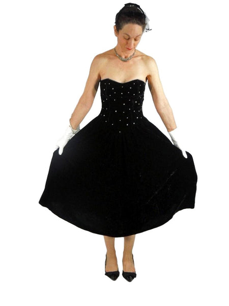 80s Black Velvet Strapless Dress - sm
