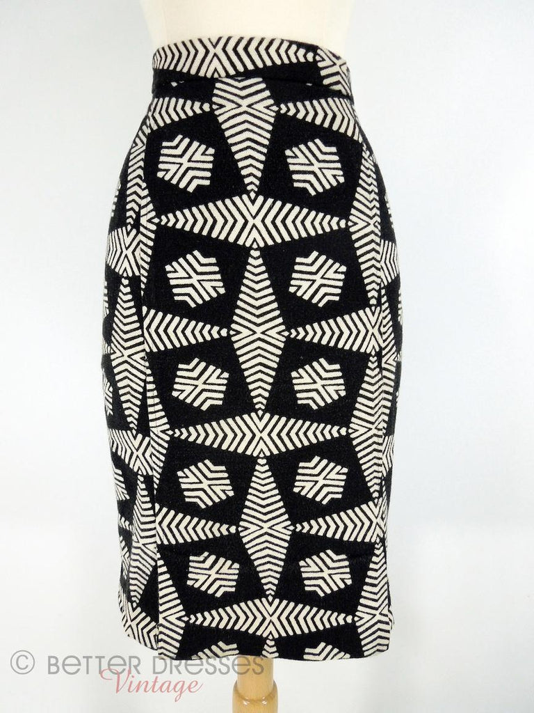 Vintage Black & White Geometric Print Pencil Skirt at Better Dresses Vintage