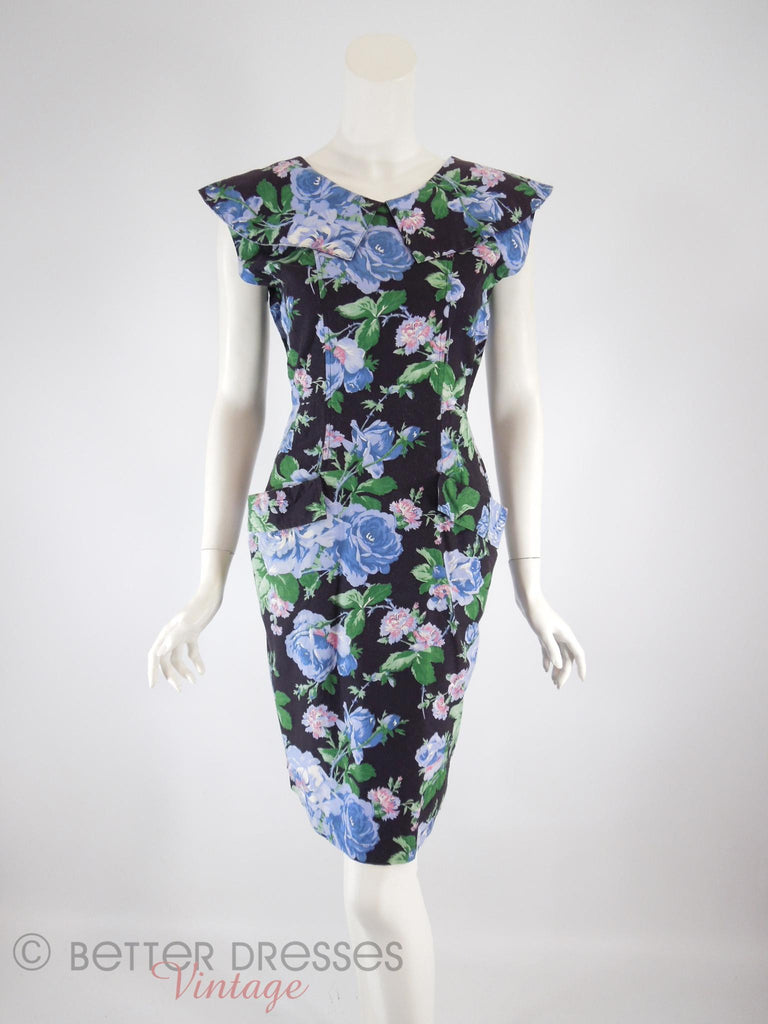 80s Does 50s Black Floral Dress - front