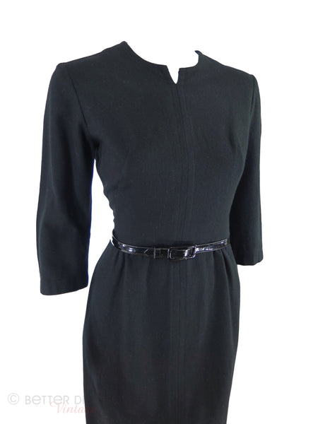 1950s or 60s Black Sheath Dress - angle