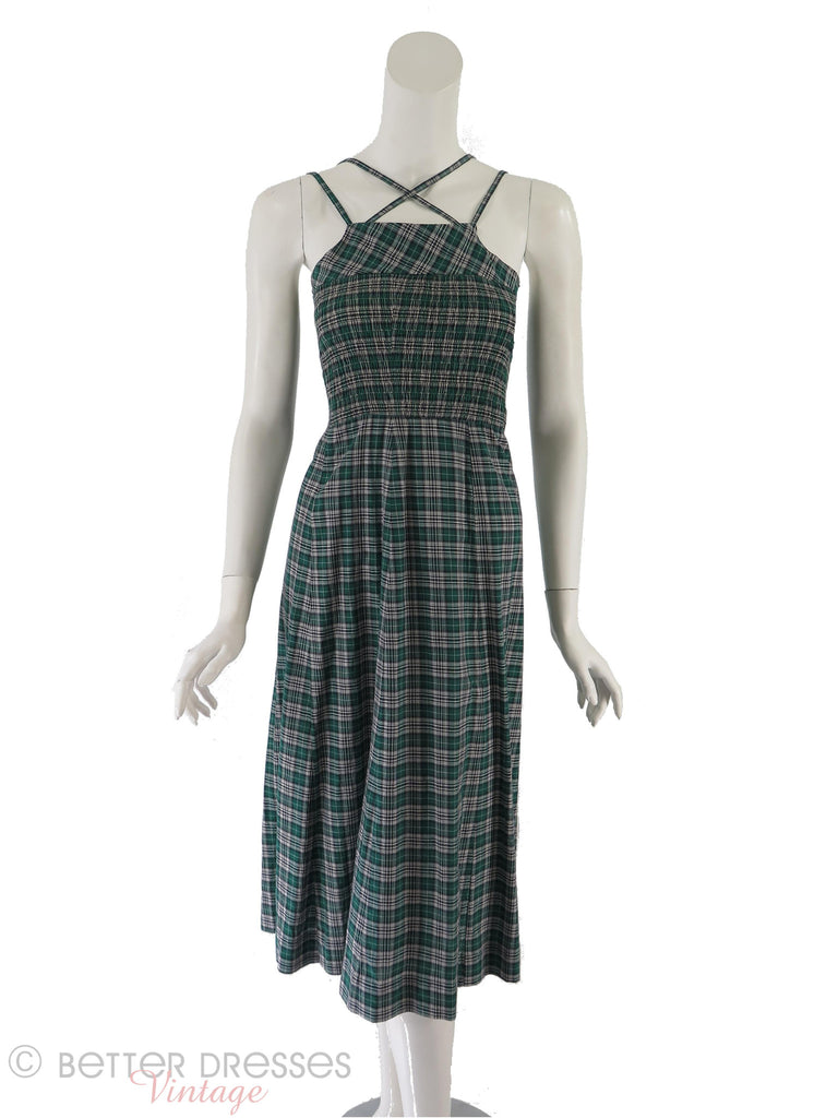 40s Plaid Sundress - crossed straps