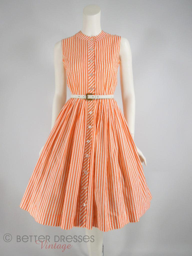 50s/60s Orange Stripes Full Skirt Shirtwaist by Bobbie Brooks - sm