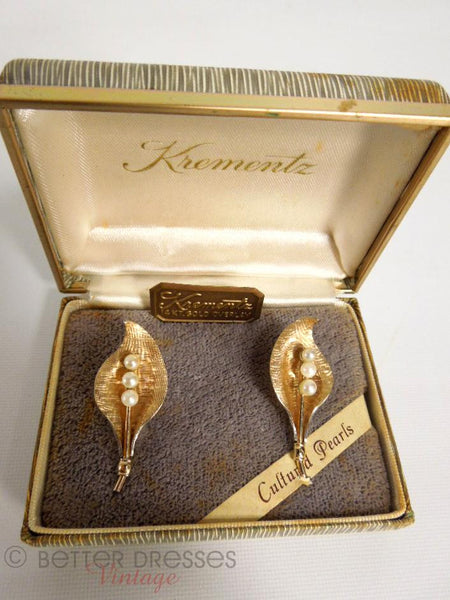 50s Krementz Gold and Pearl Earrings