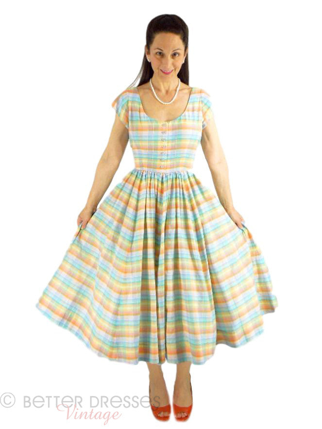 50s/60s Pastel Paid Circle Skirt Dress - full front view