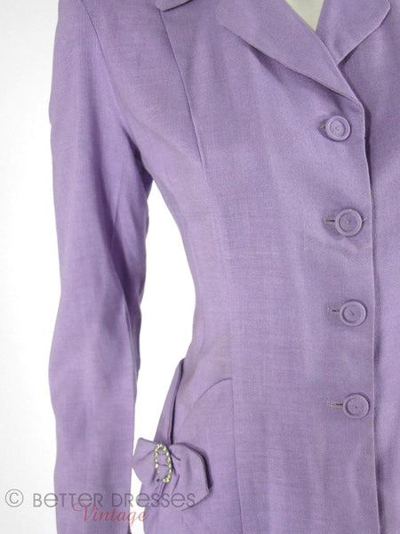 1940s 1950s Skirt Suit in Lavender - close