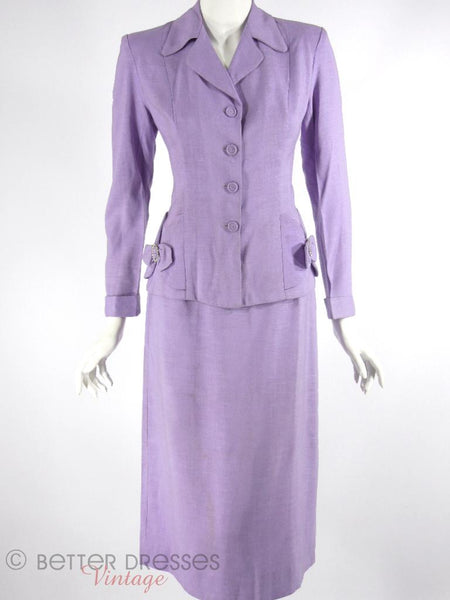 1940s 1950s Skirt Suit In Lavender Linen Better Dresses