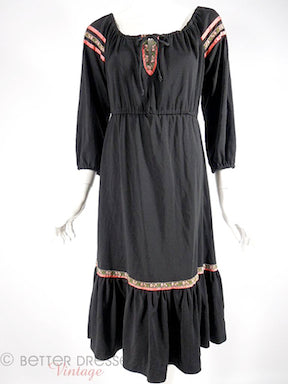 70s Boho Black Dress With Ethnic Trim