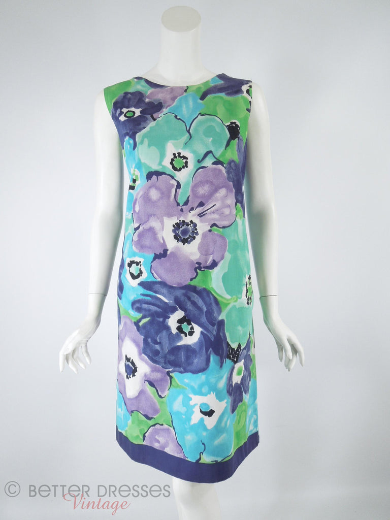 60s/70s Purple Floral Shift - front