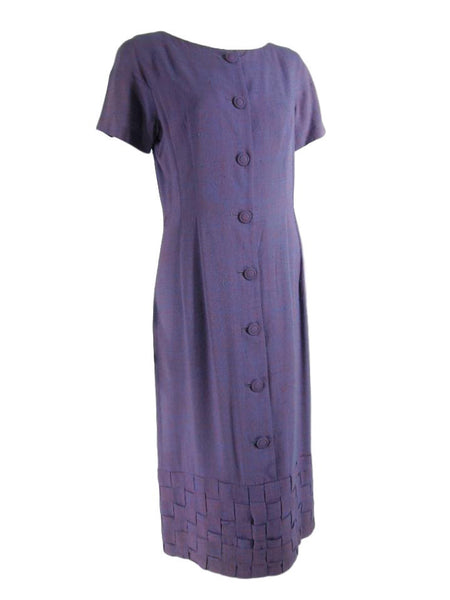 50s Purple Day Dress - Angle view