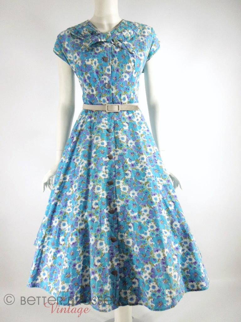 1940s 1950s House Dress Blue And Purple Floral Shirtwaist