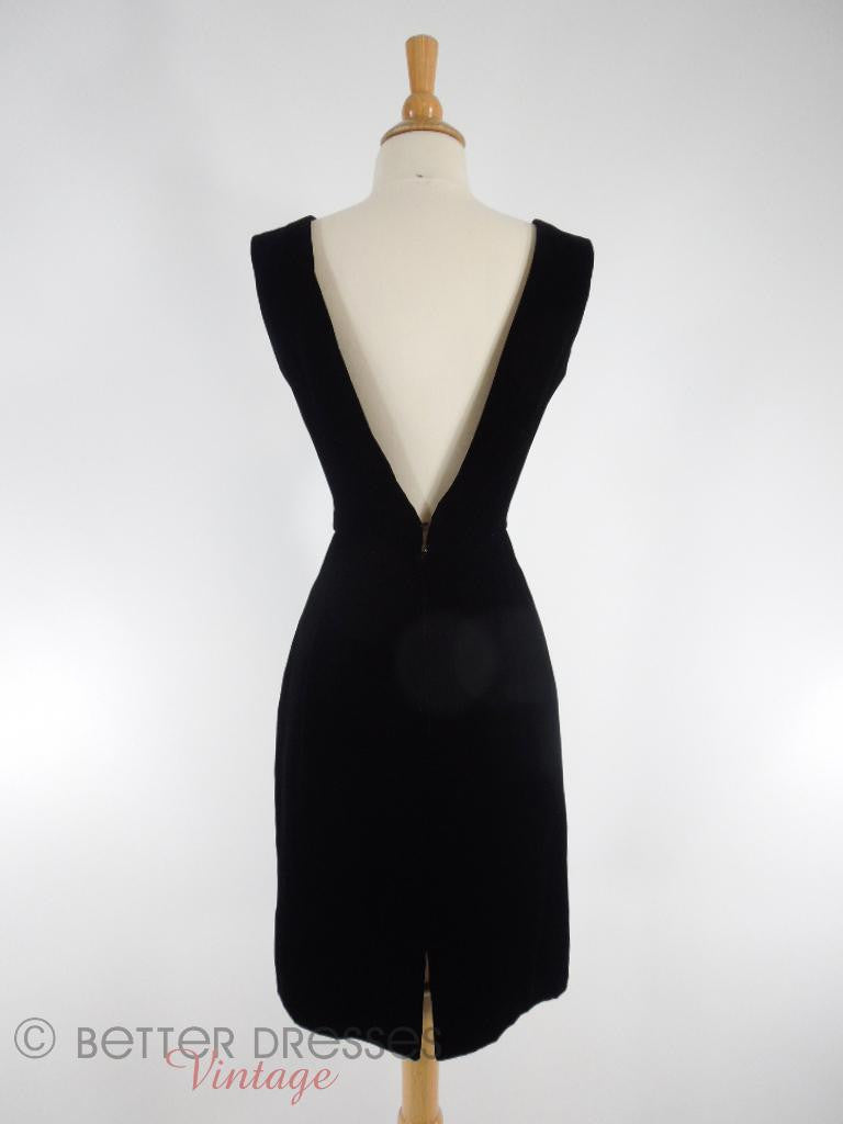 50s/60s Low-Back Black Velvet Dress - back view