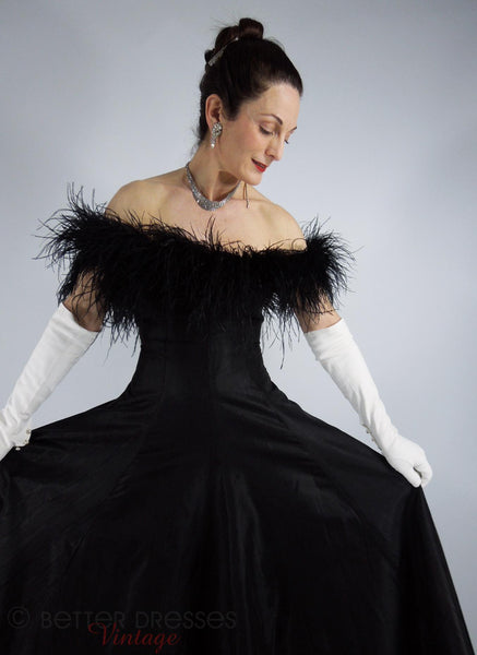 80s Does 50s Black Gown With Feathers - sm