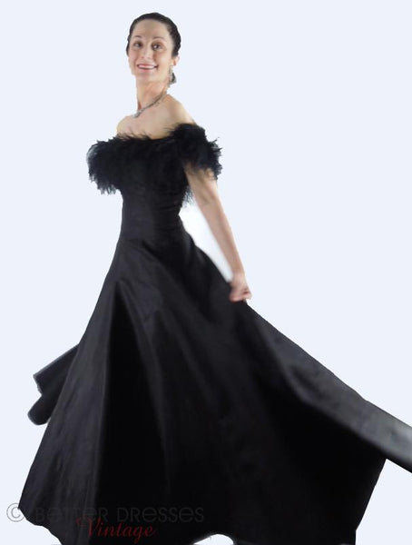50s Black Taffeta Feather Neckline Ball Gown at Better Dresses Vintage