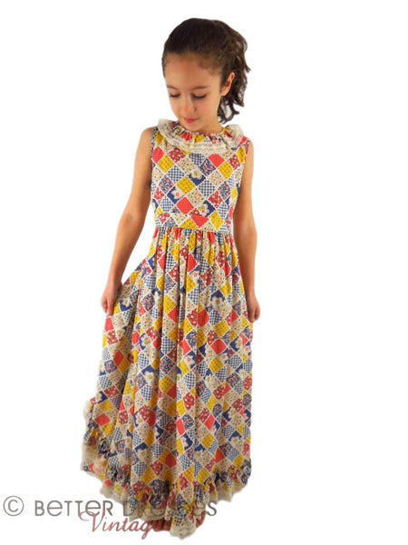 70s Child's Patchwork Maxi Dress - front