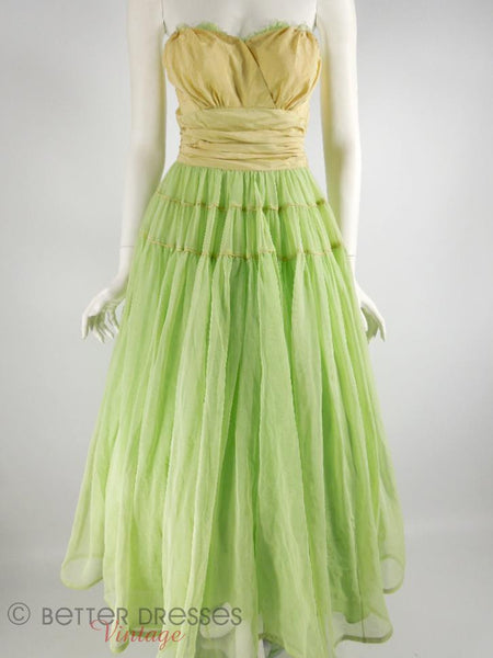 40s Lime Green Strapless Dress - front