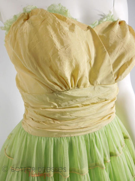 40s Lime Green Strapless Dress - bodice